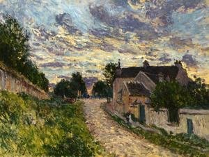 Famous paintings of Clouds & Skyscapes: A Path in Louveciennes