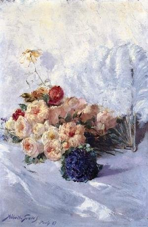 Famous paintings of Fans: Still Life with Flowers and Fan
