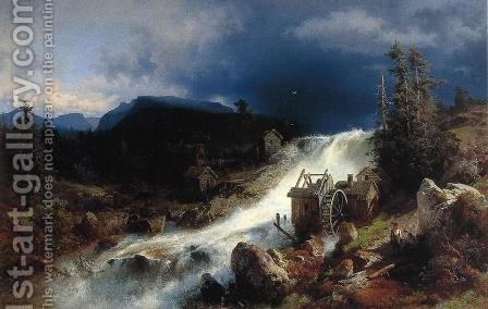 Mountain Landscape with Watermill by Herman Herzog - Reproduction Oil Painting