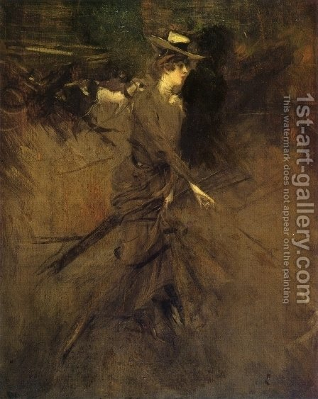 En Promenade by Giovanni Boldini - Reproduction Oil Painting