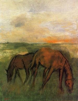 Famous paintings of Horses & Horse Riding: Two Horses in a Pasture