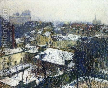 The Roofs of Paris in the Snow, the View from the Artist's Studio by Henri Martin - Reproduction Oil Painting