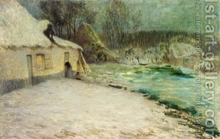 Snowy Evening, Etaples by Henri Eugene Augustin Le Sidaner - Reproduction Oil Painting