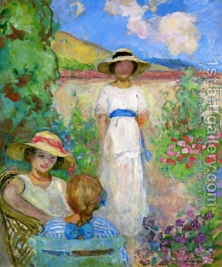 Les Andelys, Three Girls in a Garden by Henri Lebasque - Reproduction Oil Painting