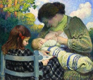 Reproduction oil paintings - Henri Lebasque - Motherhood, Madame Lebasque and Her Children