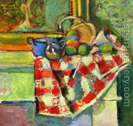 Still Life, Checked Tablecloth by Henri Matisse - Reproduction Oil Painting