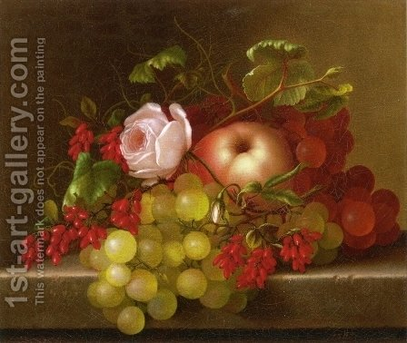 Still Life with Peach, Grapes and Rosehips by Adelheid Dietrich - Reproduction Oil Painting