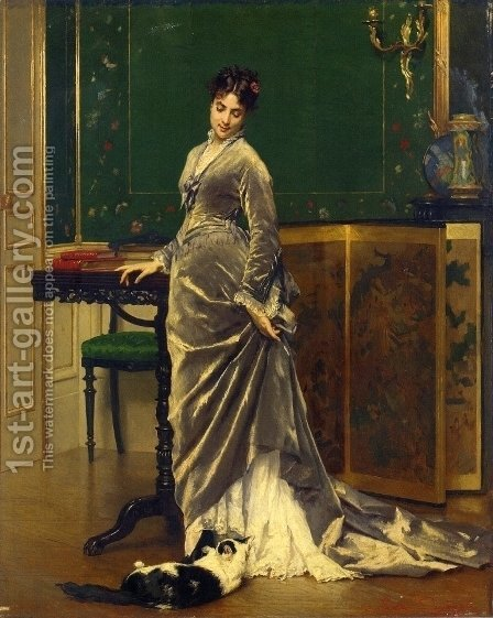 A Playful Moment by Gustave Leonhard de Jonghe - Reproduction Oil Painting