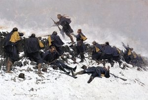 Reproduction oil paintings - Frederic Remington - Through the Smoke Sprang the Daring Soldier