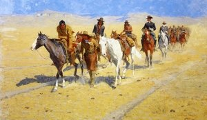 Famous paintings of Horses & Horse Riding: Pony Tracks in the Buffalo Trails