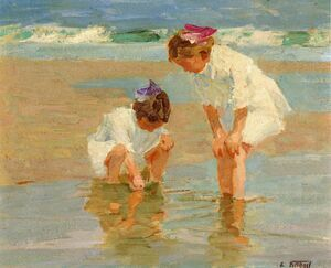 Famous paintings of Nautical: Girls Playing in Surf