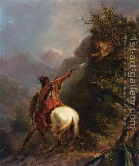 Indian Shooting a Cougar by Alfred Jacob Miller - Reproduction Oil Painting