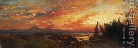 Sunset on the Great Salt Lake, Utah by Thomas Moran - Reproduction Oil Painting