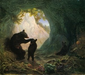 Famous paintings of Caves: Bear and Cubs