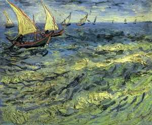 Famous paintings of Ships & Boats: Fishing Boats at Sea