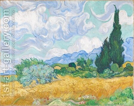 Vincent Van Gogh: Wheatfield with Cypress I - reproduction oil painting