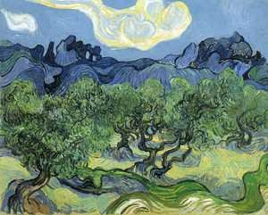 Famous paintings of Clouds & Skyscapes: The Alpilles with Olive Trees in the Foreground