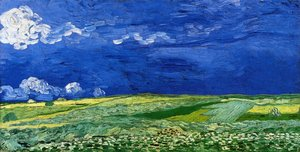 Famous paintings of Clouds & Skyscapes: Wheatfields under a Clouded Sky