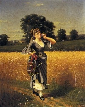 Reproduction oil paintings - Samuel S. Carr - Woman in a Wheatfield