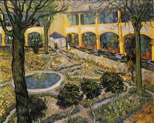 Famous paintings of Pools: Courtyard of the Hospital in Arles