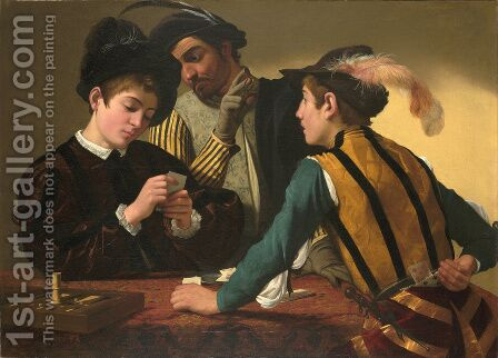 Caravaggio: The Cardsharps (I Bari) - reproduction oil painting