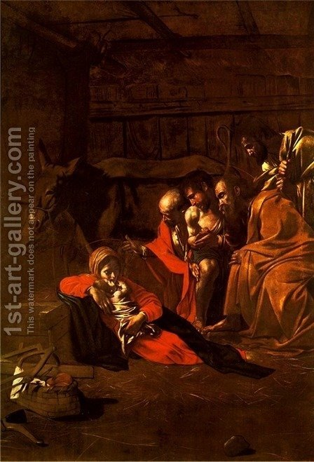 Caravaggio: The Adoration of the Shepherds - reproduction oil painting