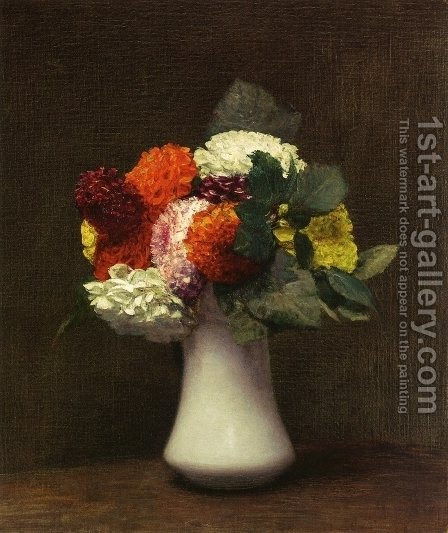 Dahlias I by Ignace Henri Jean Fantin-Latour - Reproduction Oil Painting