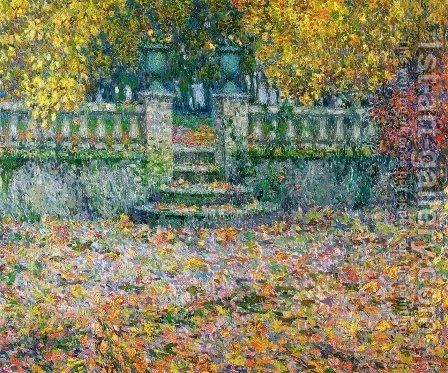 The Terrace, Autumn, Gerberoy by Henri Eugene Augustin Le Sidaner - Reproduction Oil Painting