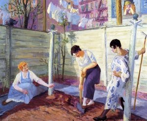 Reproduction oil paintings - John Sloan - Spring Planting, Greenwich Village