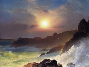 Famous paintings of Clouds & Skyscapes: Coast Scene, Mount Desert