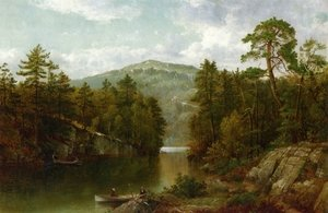 Famous paintings of Ships & Boats: A View on Lake George