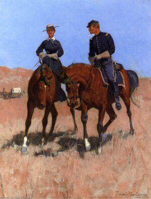 Famous paintings of Horses & Horse Riding: Belle McKeever and Lt. Edgar Wheelock