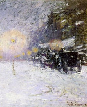 Famous paintings of Cars: Winter Midnight