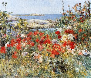 Famous paintings of Nautical: Celia thaxter's Garden, Isles of Shoals, Maine