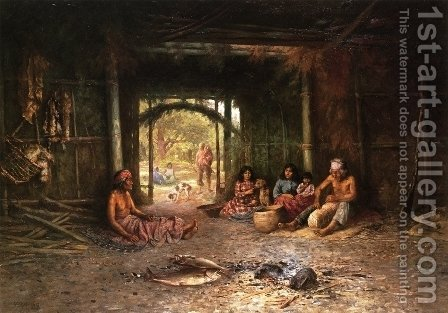 Interior of a Pomo Dwelling by Henry Raschen - Reproduction Oil Painting