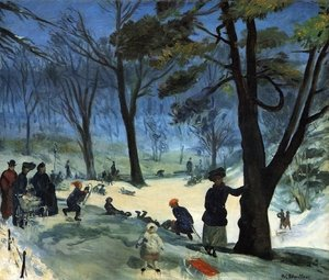 Famous paintings of Ice skating: Central Park in Winter