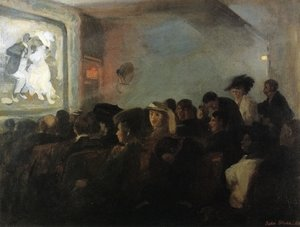 Reproduction oil paintings - John Sloan - Movies, Five Cents