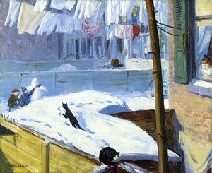 Reproduction oil paintings - John Sloan - Backyards, Greenwich Village