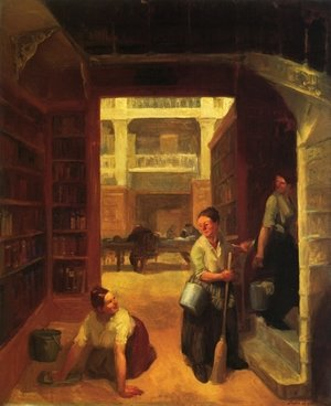 Reproduction oil paintings - John Sloan - Scrubwoman, Astor Library