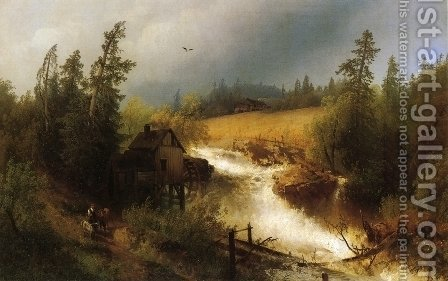 The Old Watermill by Herman Herzog - Reproduction Oil Painting