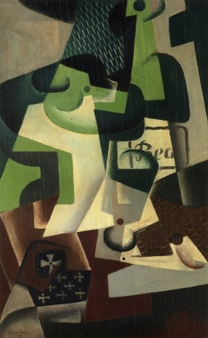 Reproduction oil paintings - Juan Gris - Bottle of Beaune and a Fruit Dish