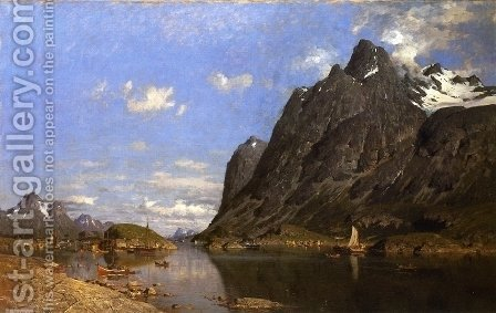 Fishing Settlement in the Lofoton Islands by Adelsteen Normann - Reproduction Oil Painting