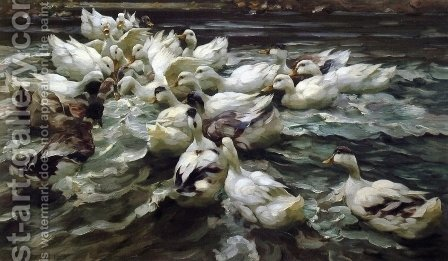 Ducks in a Pond by Alexander Max Koester - Reproduction Oil Painting