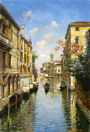 Famous paintings of Ships & Boats: Venetian Canal