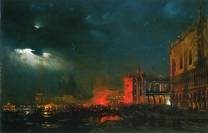 Night Festival on the Molo di San Marco upon the Feast Day of the Archduke Massimiliano d'Asborgo
