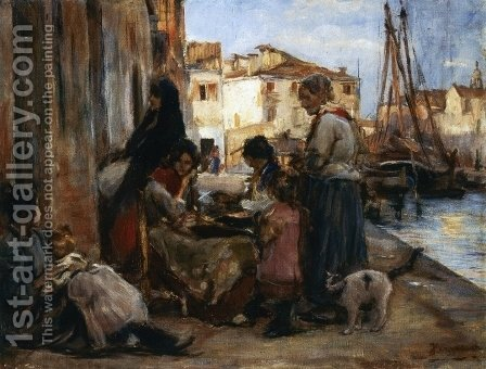 Chioggiotte Lundo il Pontile by Alessandro Zezzos - Reproduction Oil Painting