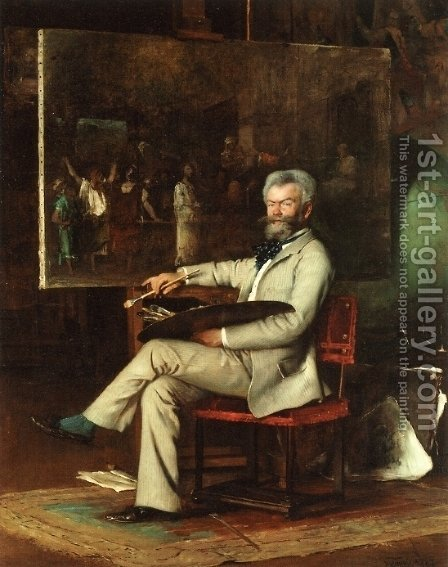 The Artist Munkaczy in his Studio by Hans Temple - Reproduction Oil Painting