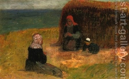 Breton Women witih Haystack by Henri Moret - Reproduction Oil Painting