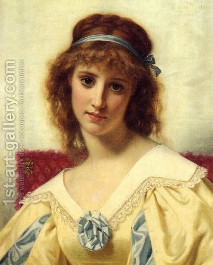 Portrait of a Young Beauty by Hugues Merle - Reproduction Oil Painting