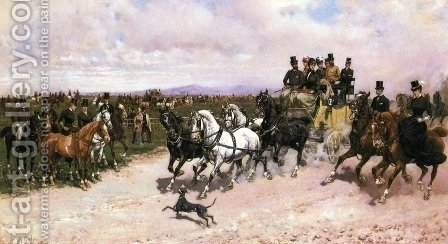 Overtaking the Stagecoach by Giuseppe Gabani - Reproduction Oil Painting